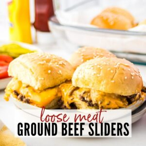 three loose meat sliders on a white plate with text overlay