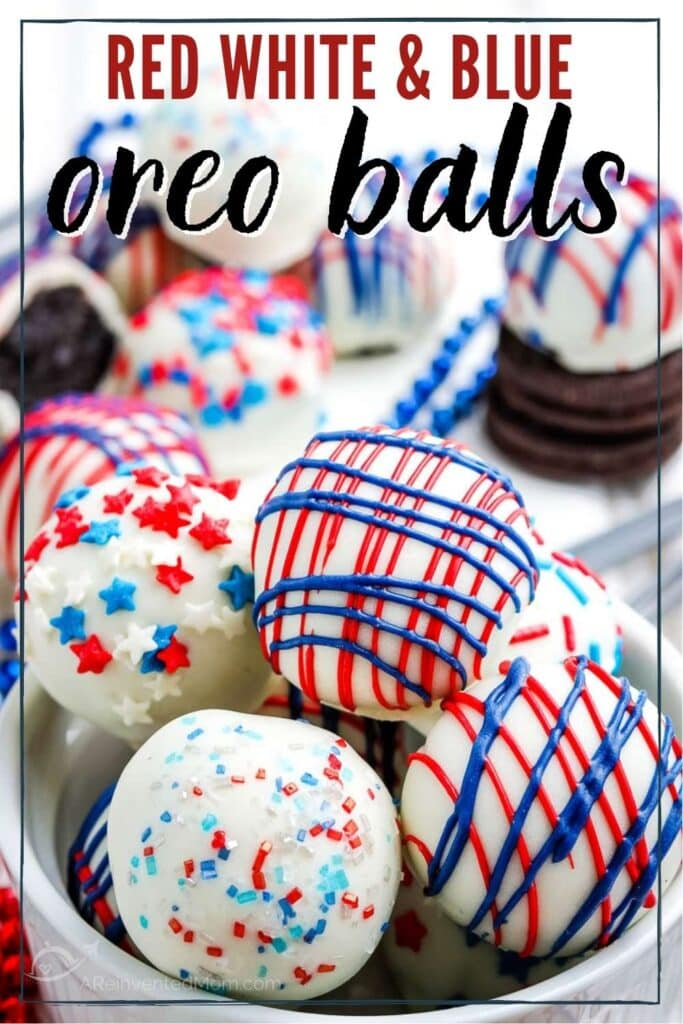 white chocolate dipped oreo balls with drizzled red and blue candy melts with text overlay