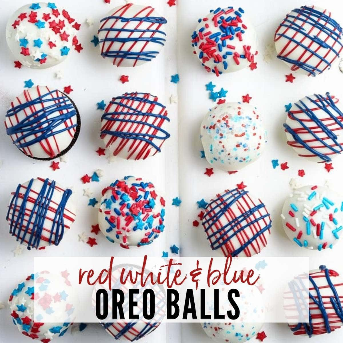 red white and blue decorated oreo balls with text overlay