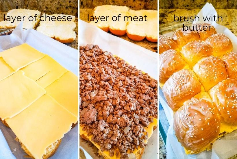 three image collage showing cheeseburger sliders being made with ground beef