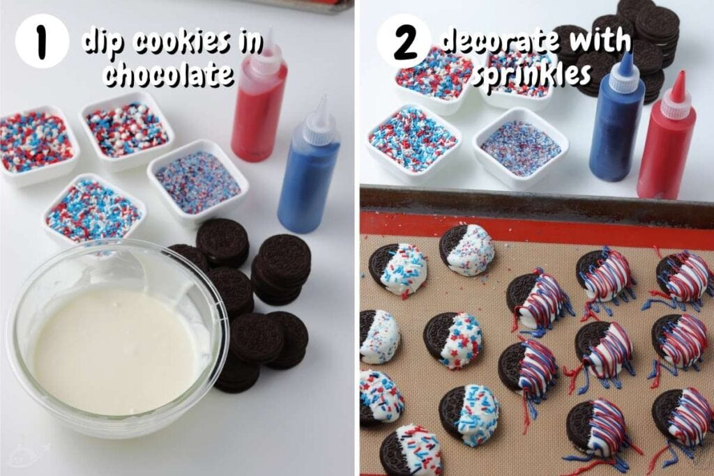 two image collage showing whole oreos being dipped into white chocolate and decorated with red and blue candy melts and sprinkles