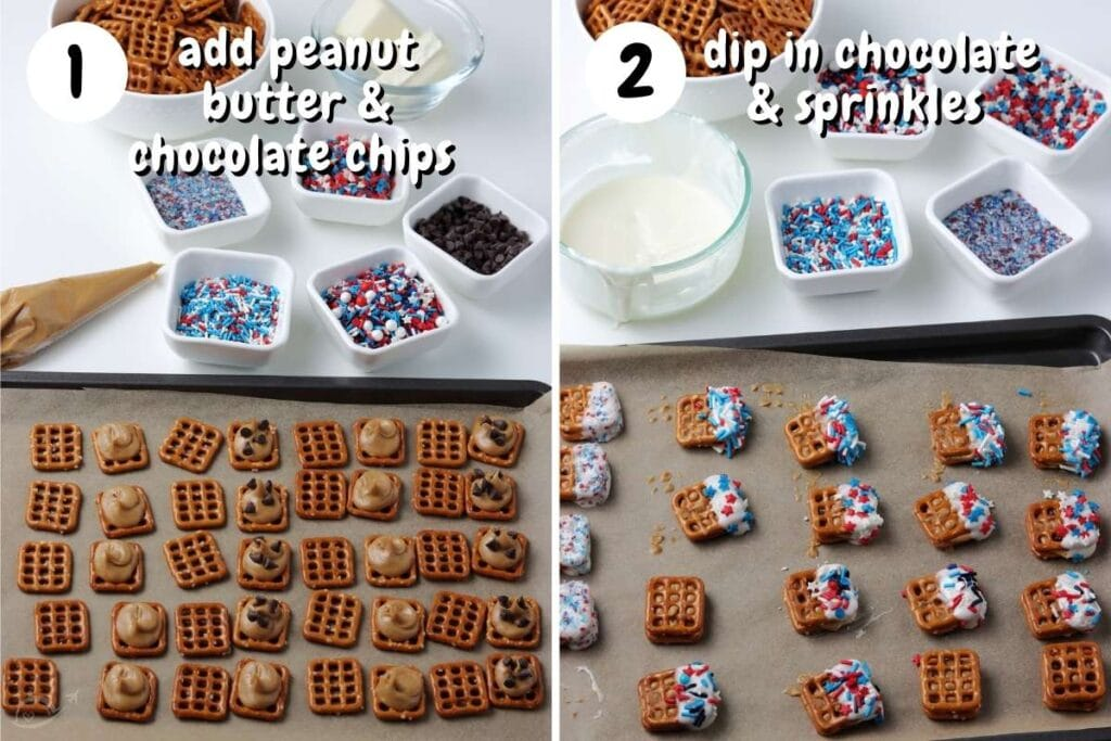 pretzels being filled with chocolate chips and peanut butter then dipped in white chocolate and sprinkles
