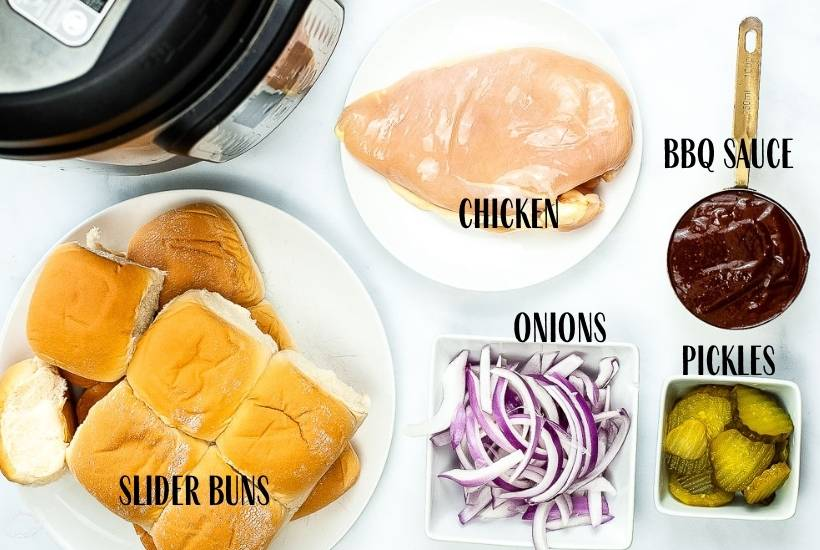 ingredients labeled for instant pot pulled bbq chicken including slider buns