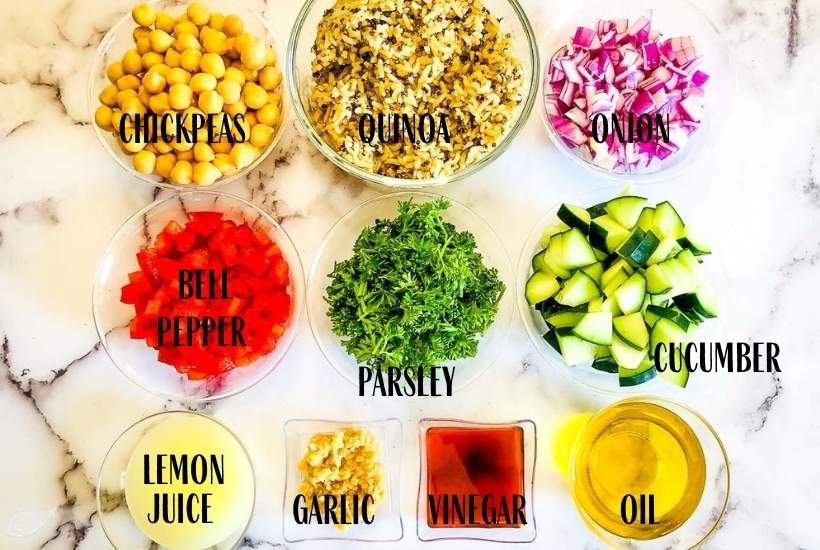 ingredients labeled for quinoa chickpea salad