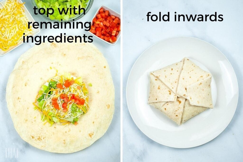 two image collage on the left adding the remaining toppings on the right after crunchwrap is folded