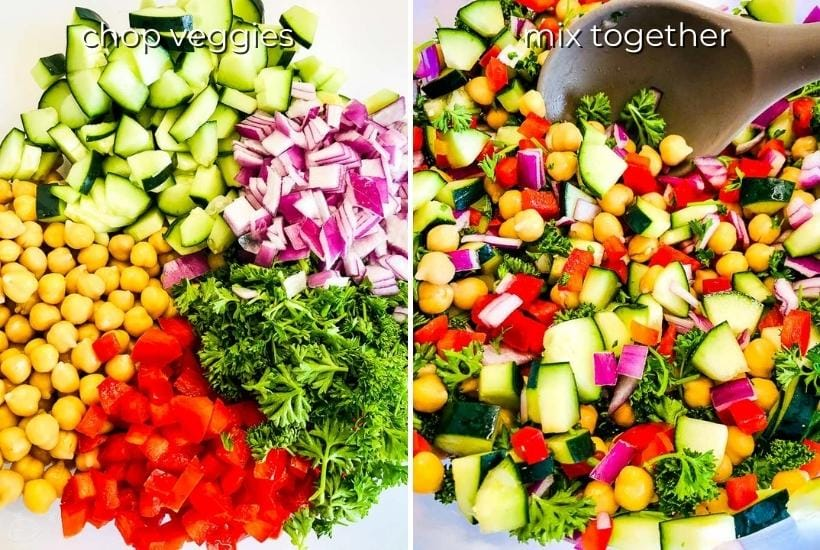 two image collage showing chopped veggies on one side and everything being mixed on the other