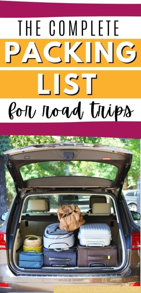 suitcases stacked in an open trunk with road trip packing list graphic overlay