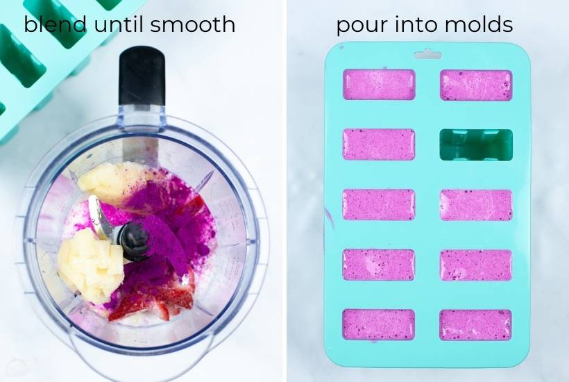 two image collage showing ingredients in the blender and being poured into popsicle molds