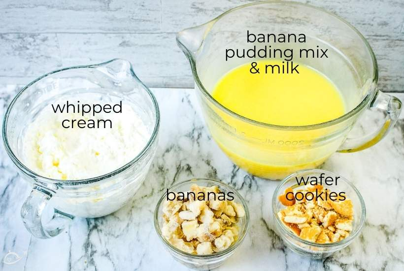 ingredients labeled for banana pudding popsicles