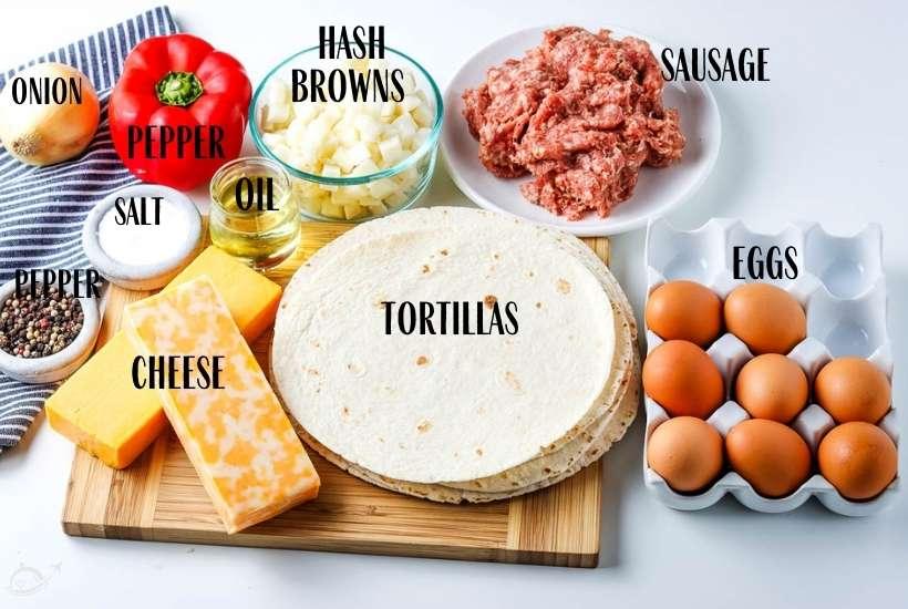 ingredients labeled for meal prep breakfast burritos