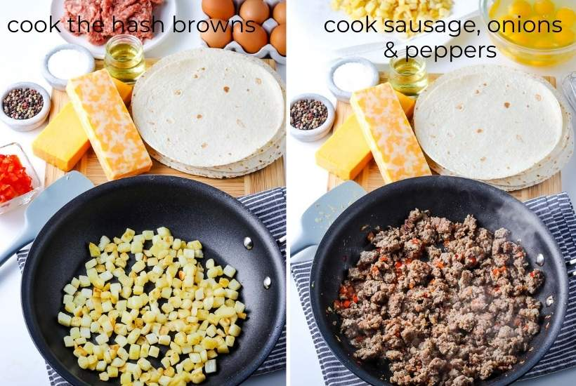 two image showing the hashbrowns being cooked, then the sausage, peppers, and onions