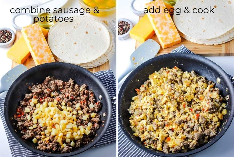 two image collage showing sausage and potatoes in a skillet then adding the eggs