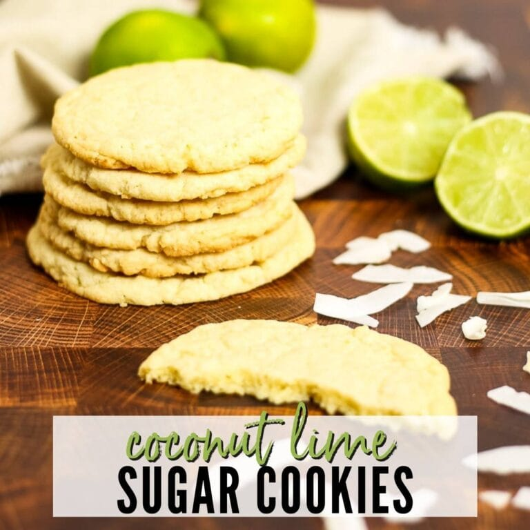 a small stack of coconut lime sugar cookies next to lime halves with text overlay