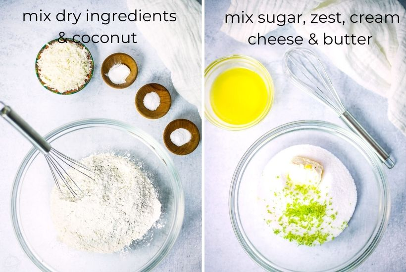 two image collage showing dry ingredients being mixed with coconut in a glass bowl then the other ingredients being added