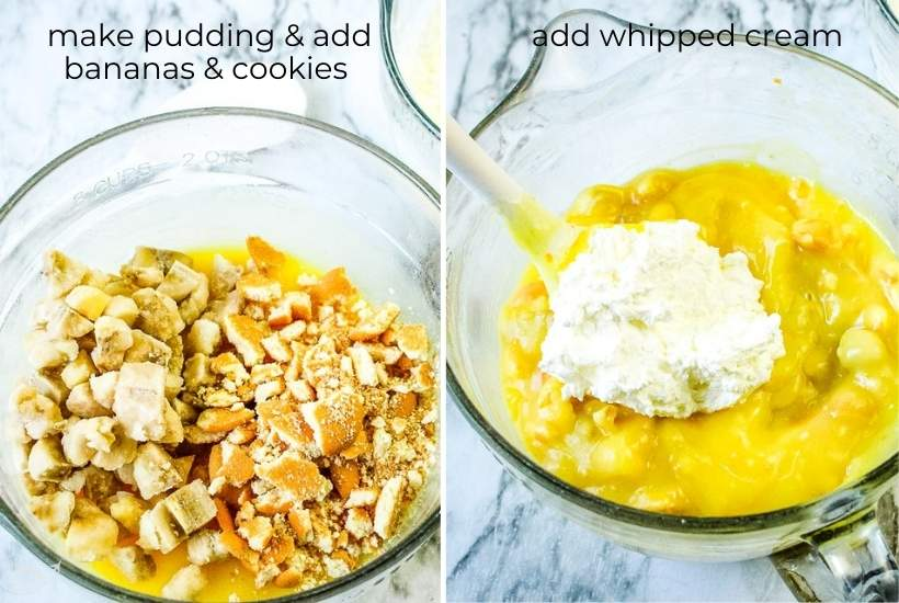 pudding and cookies being mixed together and whipped cream being added in a glass bowl