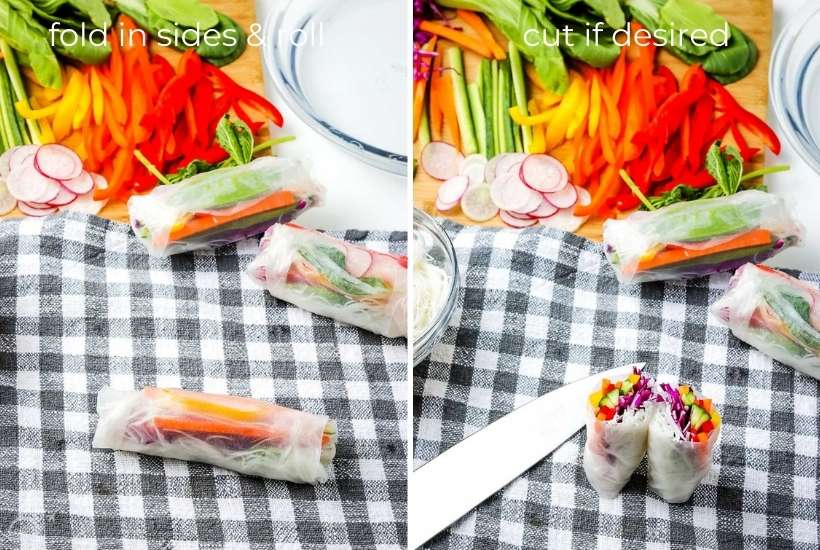 two image collage showing how to fold and cut the summer roll rice wrapper