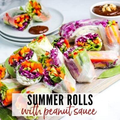 a tray of summer rolls next to ramekin of peanut sauce with text overlay