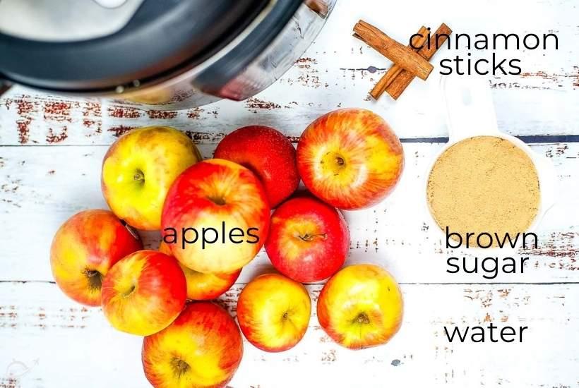 ingredients labeled for instant pot apple cider