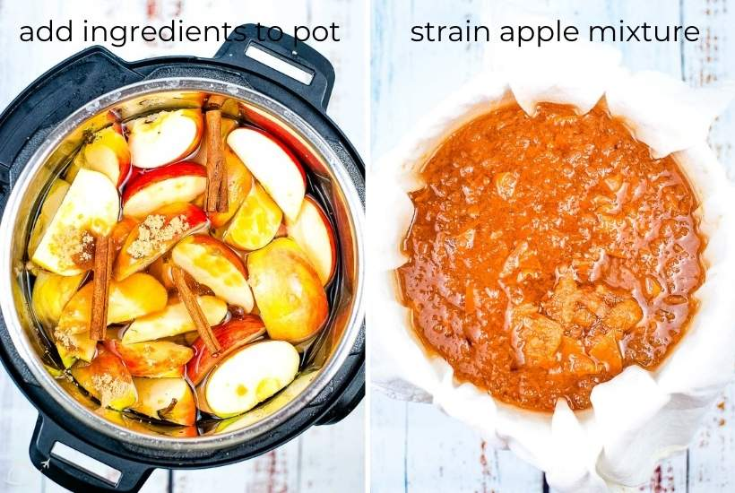 two image collage showing the ingredients in the instant pot then the apple mixture being strained