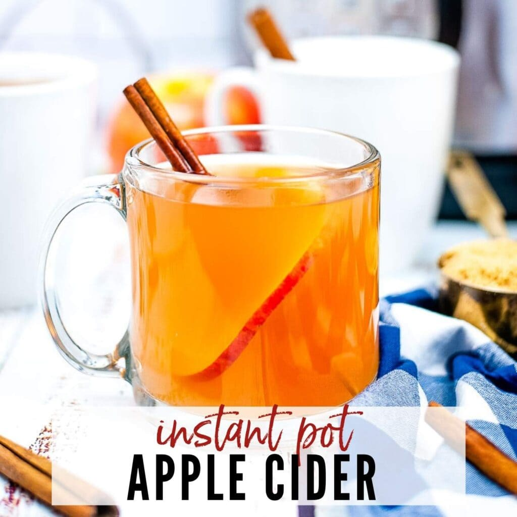 close up of apple cider with a cinnamon stick made with the instant pot with text overlay