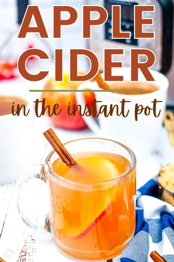 instant pot apple cider in a glass mug with cinnamon stick and text overlay