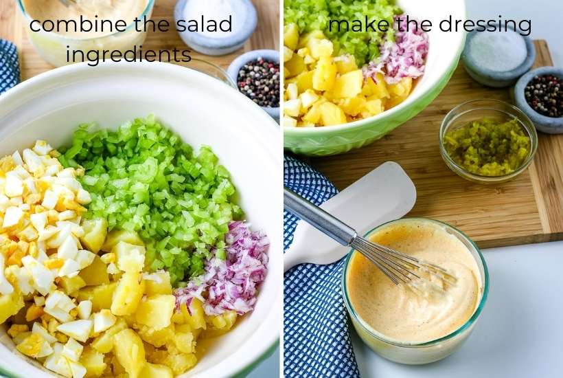 two photo collage showing potato salad ingredients in a bowl and making the dressing
