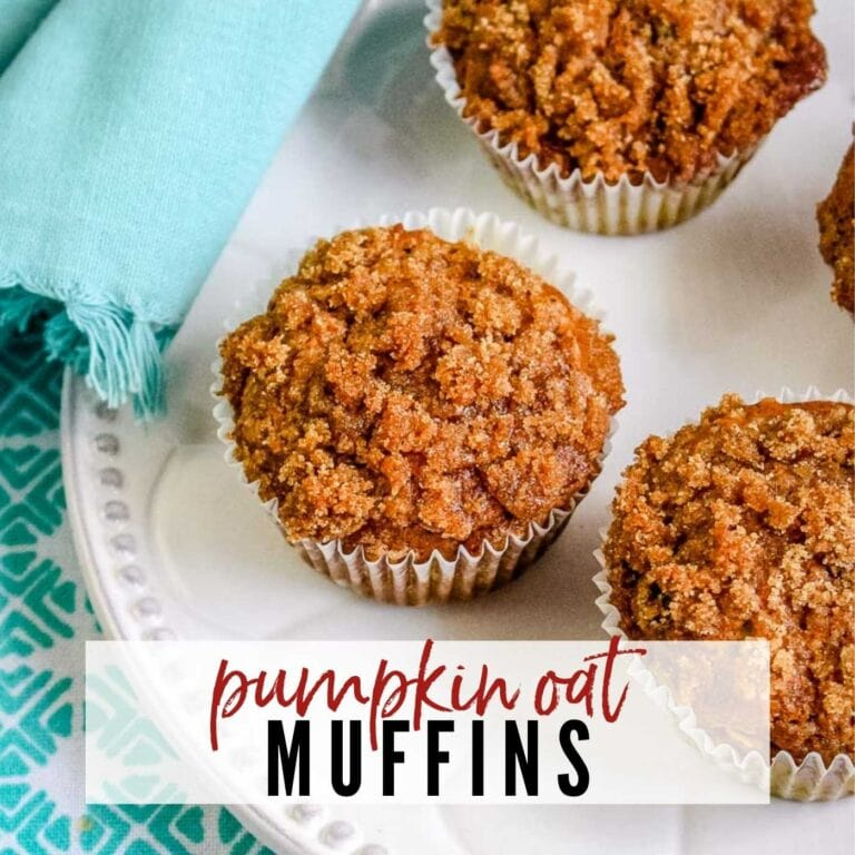 top shot of pumpkin oat muffins with a streusel topping and text overlay