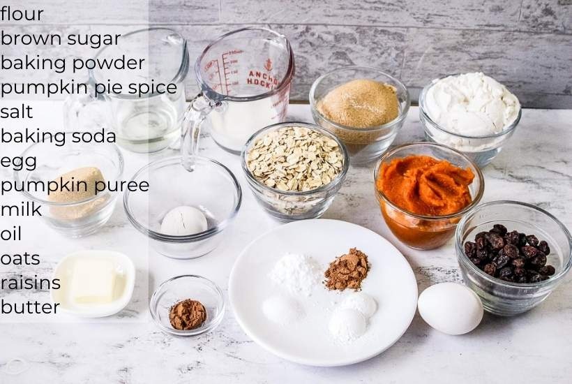 ingredients for pumpkin oat muffins with text overlay