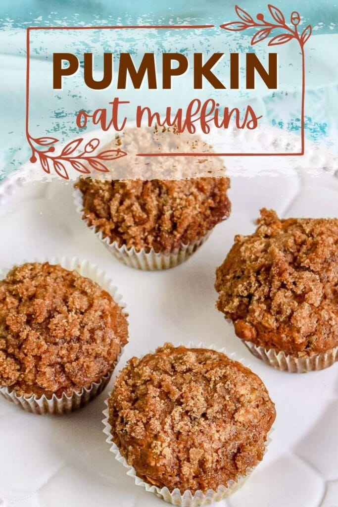 four pumpkin oat muffins on a white plate with text overlay