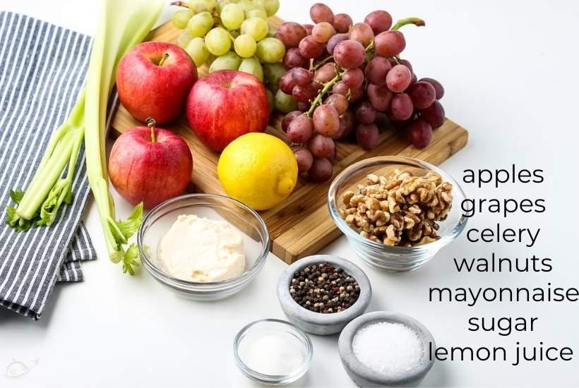 ingredients labeled to make apple celery walnut salad