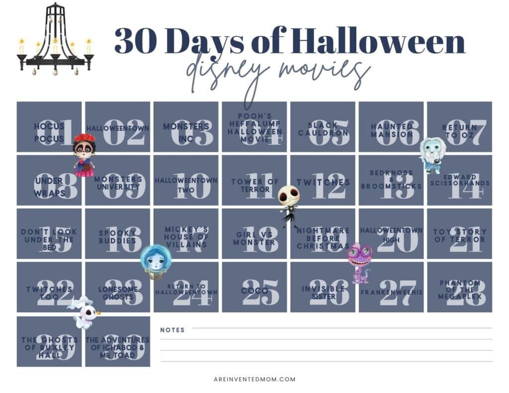 calendar of Halloween movies for 30 days of Disney