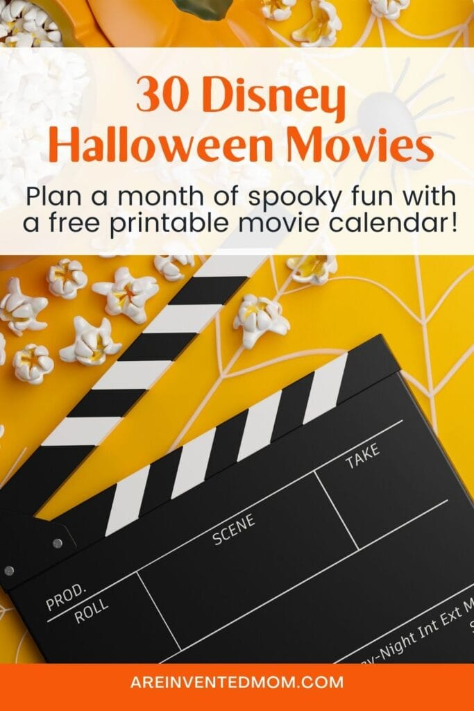 flatlay of popcorn, pumpkin and clapperboard with text overlay