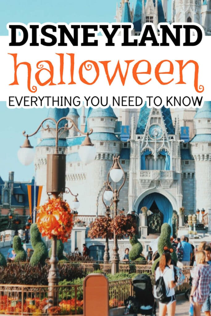 Disney castle with Fall decorations and Disneyland Halloween graphic overlay
