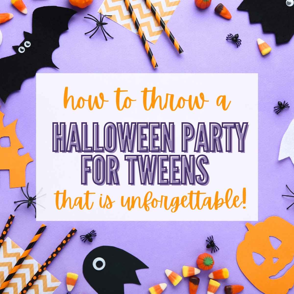 flatly with paper bats and pumpkins, Halloween candy, straws and plastic spiders with graphic overlay