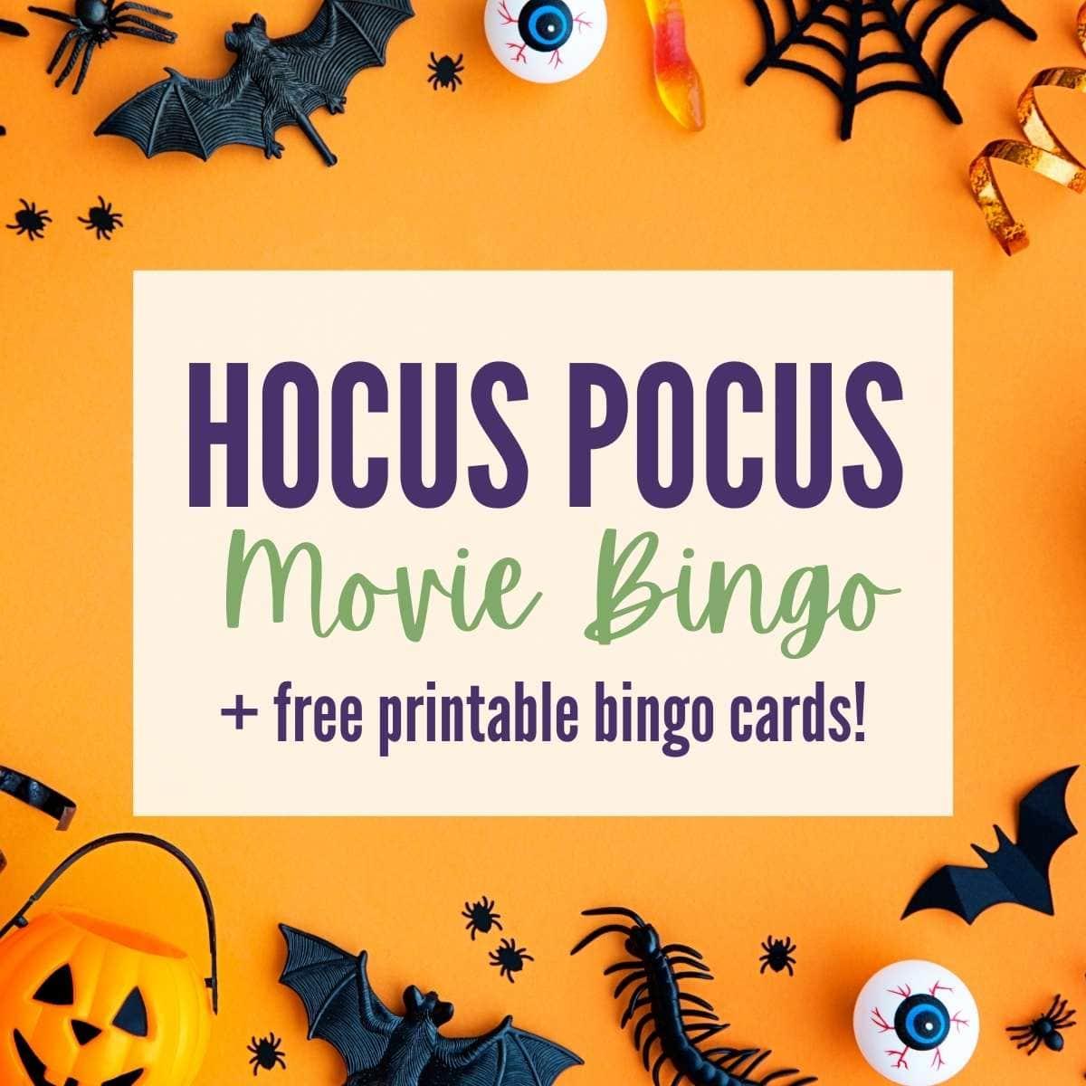 a halloween background with Hocus Pocus bingo text overlay on top