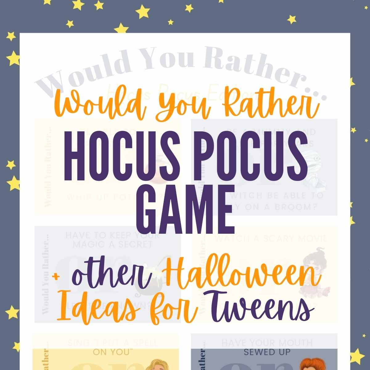 Hocus Pocus Halloween would you rather game board with text overlay